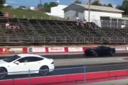 New Z06 Corvette calls out Tesla P90D at Drag Strip to a Roll Race
